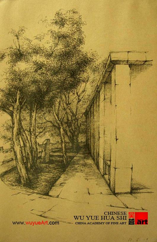 教师风景速写《老村3》|杭州画室|杭州美术培训【杭州