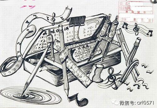 杭州风景铅笔手绘