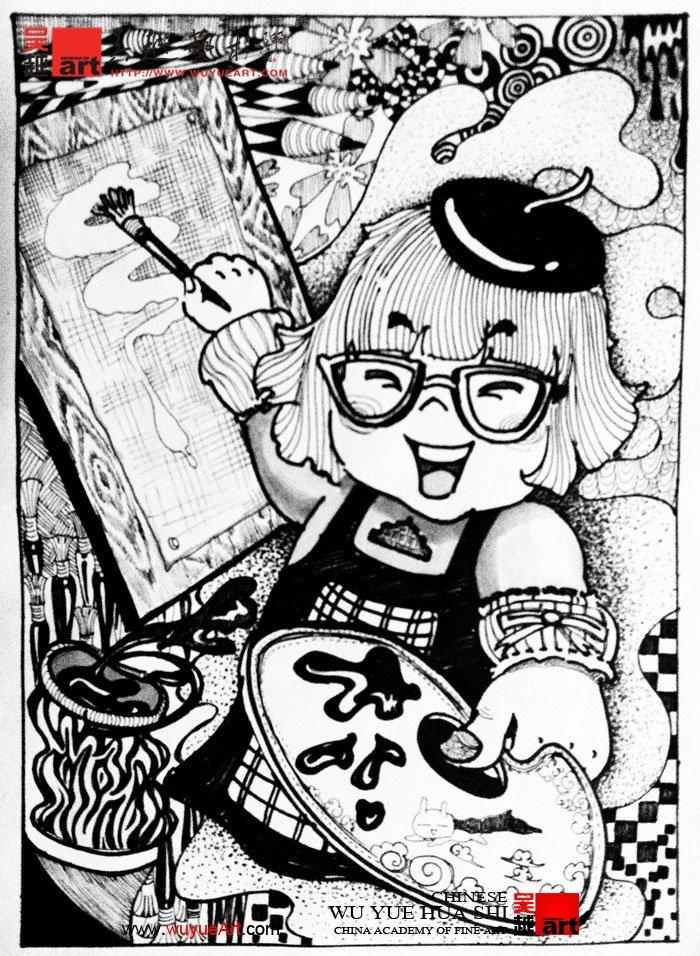 学生黑白装饰画设计_杭州吴越画室