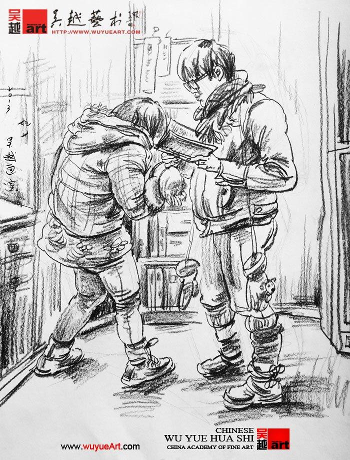 学校场景漫画手绘