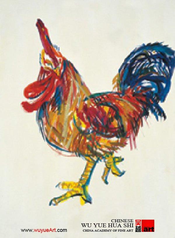常青水彩作品 公鸡系列