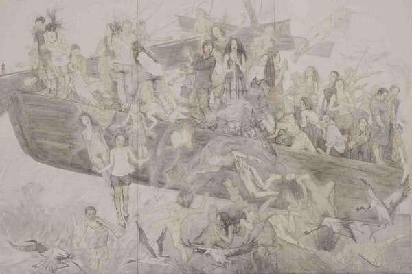 吴越画社组织学生参观美术作品展