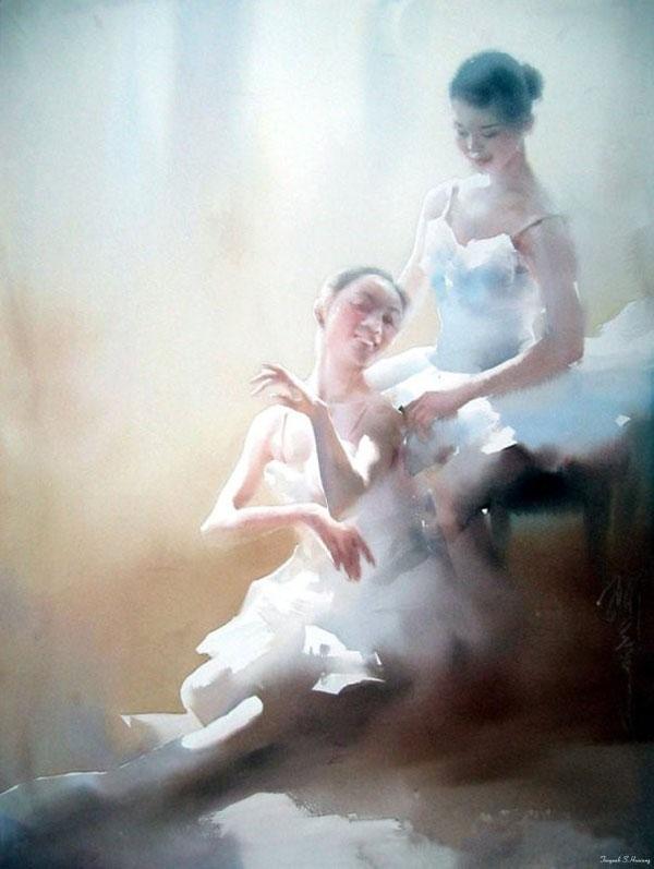 浙江省富阳市新闻_用水彩,叙写美丽芭蕾舞者的故事,每幅都栩栩如生_杭州吴越画室