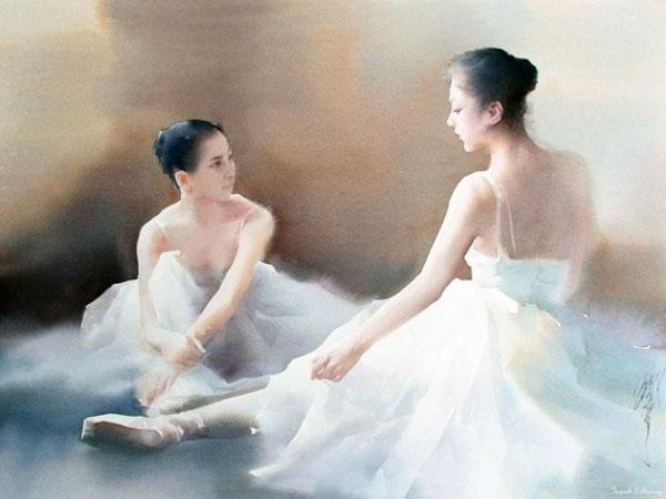用水彩,叙写美丽芭蕾舞者的故事,每幅都栩栩如生