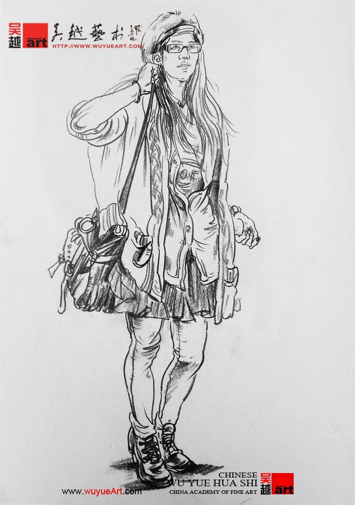 服装模特头部手绘