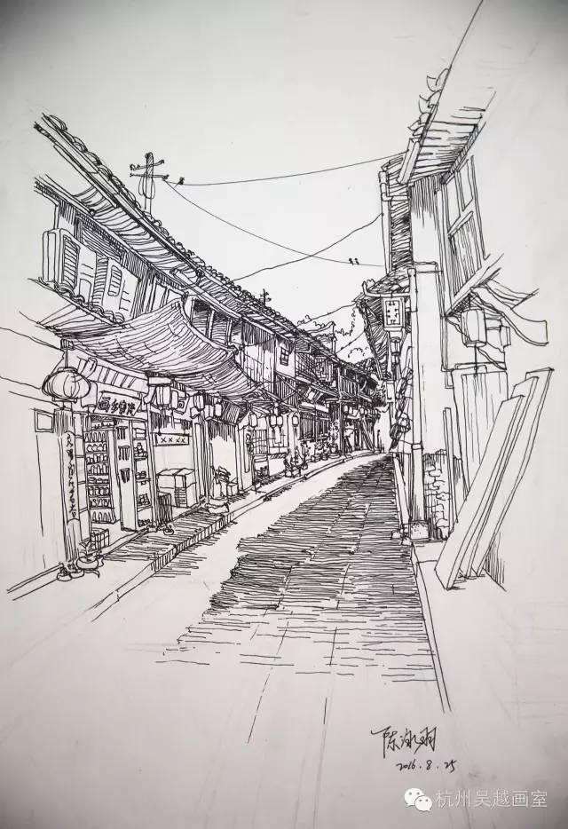 江南风景素描步骤图