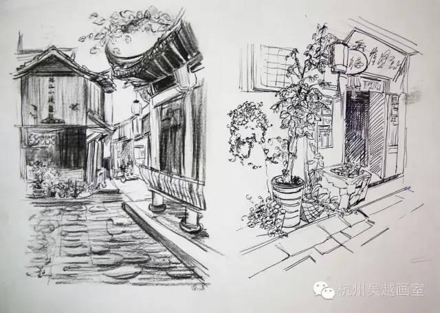 吴越下乡写生速写作品汇报 笔下的风景,心中的远方