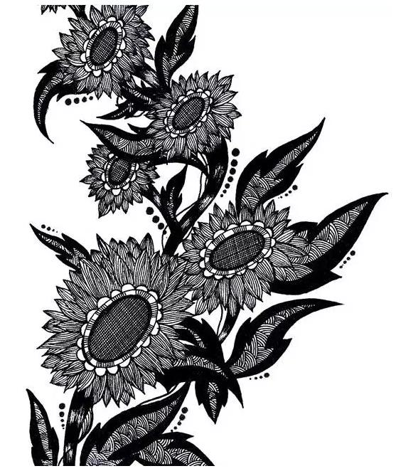 黑白创意矢量图 花卉